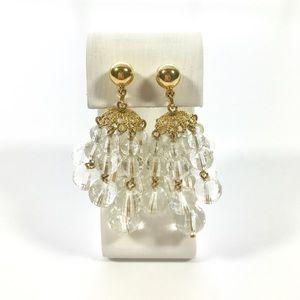 Jewelry - Faceted Beaded Mod Chandelier Dangle Earrings